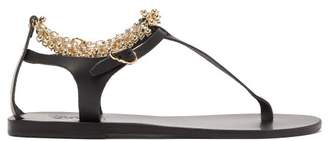 Ancient Greek Sandals Chrysso Ball Chain Strap Leather Sandals - Womens - Black