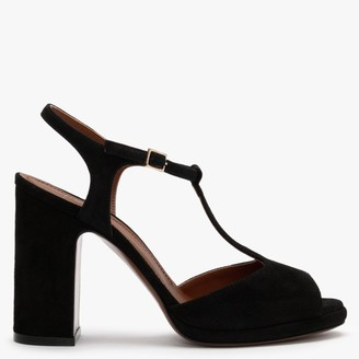 L'Autre Chose T-Bar Black Suede Low Platform Sandals
