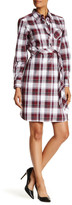 Foxcroft Herringbone Plaid Belted Shirt Dress