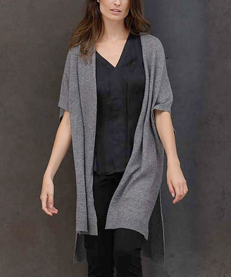 Colour Works by In Cashmere Women's Sweater Vests mid - Mid Heather Gray Open Hi-Low Cashmere Cardigan - Women