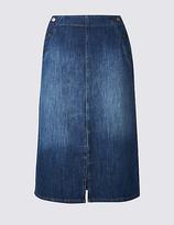 Per Una Denim Split Detail Pencil Midi Skirt