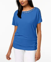 JM Collection Petite Grommet-Trim Top, Created for Macy's