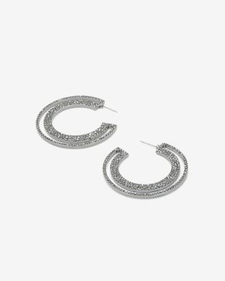 Express Open Cut-Out Side Stone Hoop Earrings
