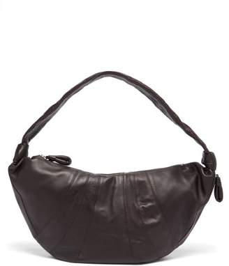 Lemaire Croissant Large Panelled Leather Cross-body Bag - Womens - Dark Brown