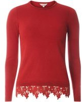 Dorothy Perkins Womens Petite Red Lace Hem Jumper- Red