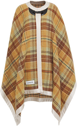 Lanvin Leather And Satin-trimmed Checked Wool Cape