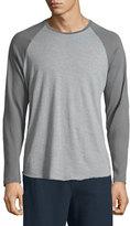 Vince Colorblock Raglan-Sleeve Baseball Shirt, Smoked Gray