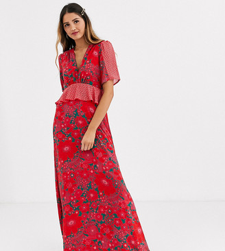 Twisted Wunder vivid floral maxi dress with contrast hem and shoulder detail