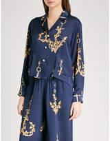 Natasha Zinko Anchor-print silk-satin shirt