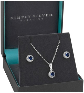Simply Silver Sterling Silver Sapphire & Cubic Zirconia Halo Earrings & Pendant Set