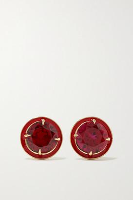 Alison Lou 14-karat Gold, Enamel And Ruby Earrings - one size