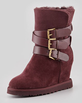 Yes Shearling-Cuff Wedge Boot, Burgundy