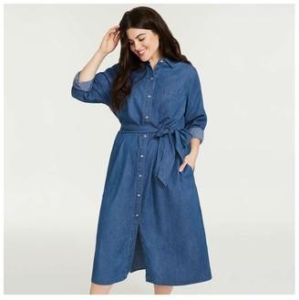 Joe Fresh Women+ Denim-Look Shirtdress, Medium Wash (Size 2X)
