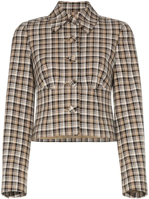 Beaufille Haring checked cropped jacket
