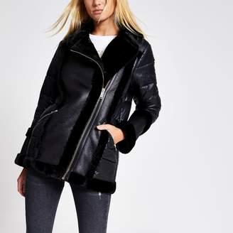 River Island Womens Black faux fur padded aviator jacket