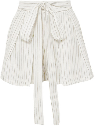 Three Graces London Jola Belted Metallic Striped Voile Shorts