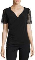 T Tahari Zella Lace-Sleeve Knit Top, Black