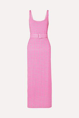 MONICA BERNADETTE Belted Gingham Stretch-jersey Midi Dress - Pink