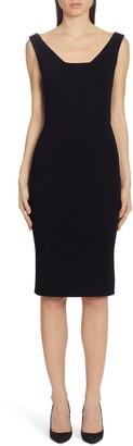 Dolce & Gabbana Square Neck Wool Crepe Sheath Dress