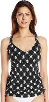 Maxine Of Hollywood Women's Diamond Treasure Side Shirred Tankini D-Cup