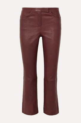 Theory Cropped Leather Bootcut Pants - Burgundy