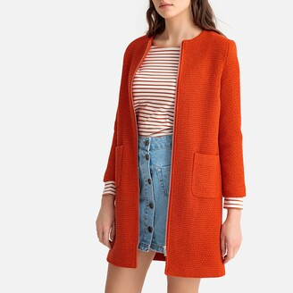 La Redoute Collections Collarless Straight Coat with Pockets