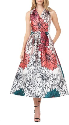 Kay Unger Floral Print Mikado Cocktail Dress