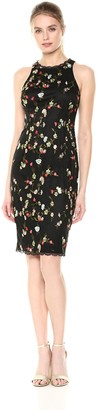 Adrianna Papell Women's Diana Floral Embroidery Sheath Dress