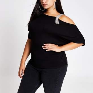 River Island Womens Plus Black one shoulder diamante strap top