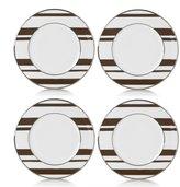 Mikasa Color Studio Set of 4 Brown Platinum Stripe Accent Plates