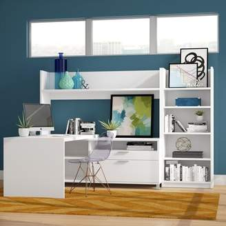 Comm Office Heyworth L-Shape Executive Desk with Hutch and Bookcase Comm Office