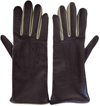 Isabel Marant Burgundy Leather Gloves
