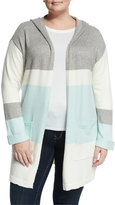 Vince Camuto Stripe-Print Open-Front Hooded Cardigan, Aqua Shade, Plus Size