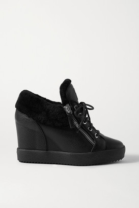 Giuseppe Zanotti Shearling-trimmed Textured-leather Wedge Ankle Boots - Black