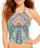 Daniel Cremieux Engineered Scarf Print High Neck Midkini Top