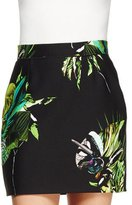 Proenza Schouler Floral Photo-Print Mini Skirt, Black/Green/Chartreuse