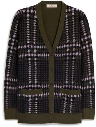 Mulberry Sloan Cardigan Deep Olive Tri Colour Check Cashmere Blend
