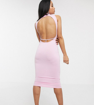 Asos DESIGN Petite going out strap back midi dress in pink