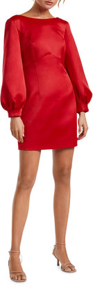 Ever New Puffed Long-Sleeve Bow-Back Mini Dress