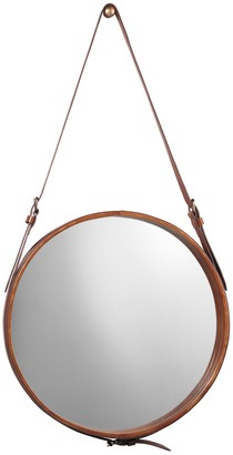 Jamie Young Large Round Mirror - Brown Leather