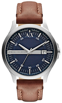 Armani Exchange Ax2133 Date Leather Strap Watch, Brown/blue