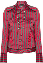 Ann Demeulemeester Double-breasted Striped Satin-twill Jacket - Red