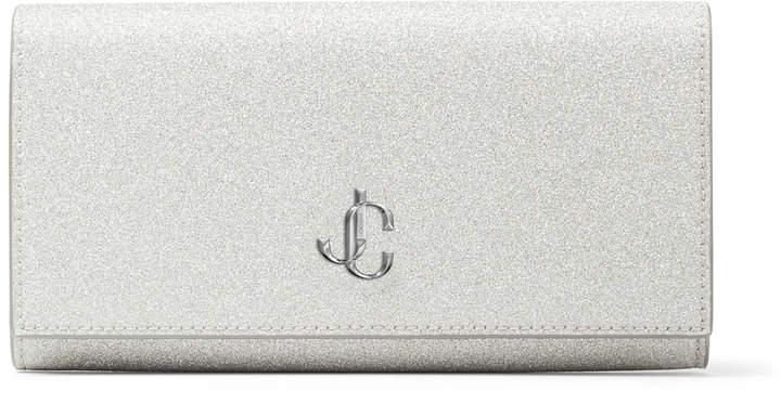 Jimmy Choo MARTINA Metallic Silver Glitter Fabric Wallet with JC Emblem