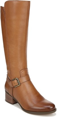 Naturalizer Zip-Up Tall Wide Calf Leather Boots- Dalton