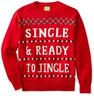 Ugly Fair Isle Unisex Jacquard Single & Ready to Jingle Crewneck Christmas Sweater Red/White/Black Red/White/Black