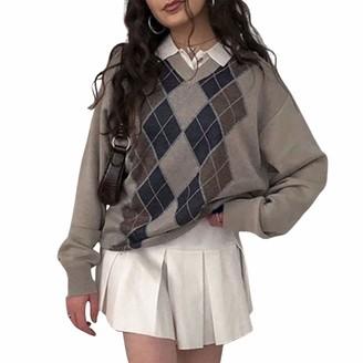 CYWYQ Women Vintage Argyle Knitwear Oversized Harajuku Aesthetic Pullovers Sweaters Y2K Streetwear Set (A-Grey Knitwear M)