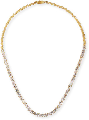 Suzanne Kalan 18k Diamond-Baguette Tennis Necklace