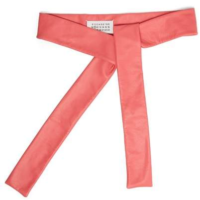 Maison Margiela Self Tie Leather Belt - Womens - Pink