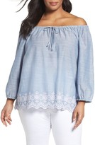 NYDJ Plus Size Women's Josephine Eyelet Embroidered Off The Shoulder Top