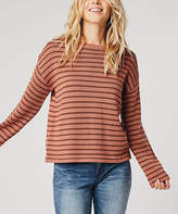Carve Designs Women's Pullover Sweaters Red - Red Rock Brunette Stripe Whitcomb Wool-Blend Sweater - Women